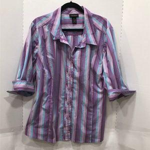LANE BRYANT Purple Stripe Button Up Stretch Shirt